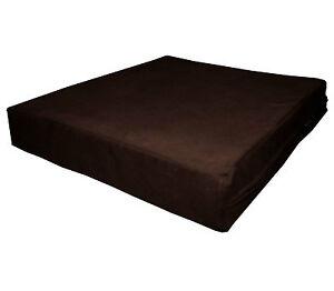 mb65t Brown Flat Velvet Style 3D Box Sofa Seat Cushion Cover*Custom Size*