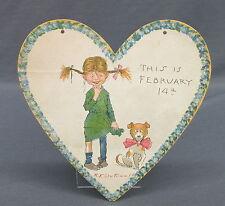 1903 Tuck Outcault Paper Hanging Valentine Heart Ragamuffin Girl & Dog Feb 14th
