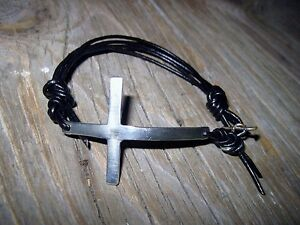 Cross Cuff Bracelet Sterling Silver Leather Black or Brown Supple All Sizes
