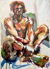EXQUISITE FINE ART ORIGINAL NUDE SIGNED WATERCOLOR PAINTING BY MAHARA SINCLAIRE