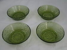 "Vtg Anchor Hocking Glass ""Soreno Avocado Green"" 6"" Soup Cereal Fruit Bowl Bowls"