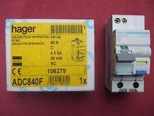 Réf ADC840F DISJONCTEUR DIFFERENTIEL HAGER 1P+N 40A 30mA TYPE AC 4,5kA 240V