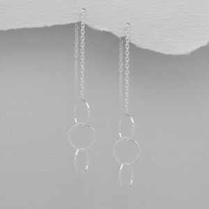 925 Sterling Silver Interlocking Circles Thread Through Earrings Threader Women