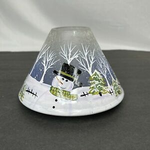 Yankee Candle Hand Painted Crackle Glass Christmas Snowman Large Jar Shade