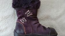 Clarks baby girls purple suede boots size UK 5 F infant VGC