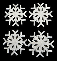 Glitter Snowflake Hanging Christmas Tree Decoration White Silver Xmas Set of 2