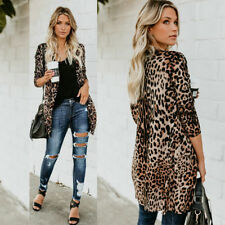 US STOCK New Womens Leopard print Tops Cardigan Boho Chiffon Coat Jacket Blouse