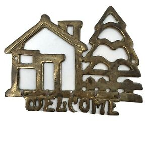VTG Brass Key Ring Holder Welcome Home House Tree Decorative Wall Hanging gold