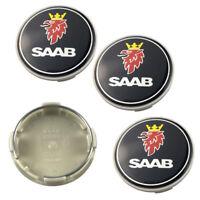 """4x 63mm 2.5"""" Black Wheel Center Caps Logo Emblem Badge Hub Caps Rim Cap Fit SAAB"""