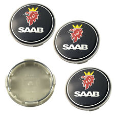 "4x 63mm 2.5"" Black Wheel Center Caps Logo Emblem Badge Hub Caps Rim Cap Fit SAAB"
