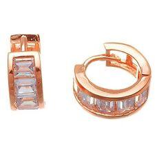 Dainty Rose Sterling Silver Baguette Hoop Huggie Earrings-CZ-Children