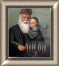 Handmade Jewish Israel Judaica Hebrew Art Oil Painting Rabbi Lighting Candles