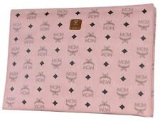 New MCM Soft Pink Coated Canvas Visetos Large Zip Top Purse Clutch Pouch