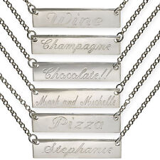 STERLING SILVER MESSAGES BAR PERSONAL PLATE NAME CHAIN NECKLACE FREE ENGRAVING