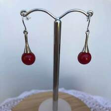Earrings Glass Red Bead Drop on Cone Top Rhodium Plated Silver Pierced Hook