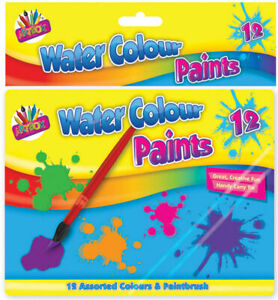 Set of 12 Water Colour Paints with Brush - Children Art & Craft Painting