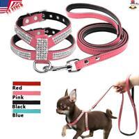 12Colors Dog Leash Harness Lead Suede Leather Rhinestone Walking Soft Comfort US