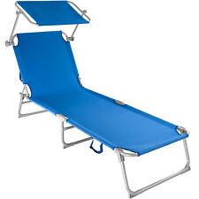 Tumbona Plegable para Ocio y Jardín Playa Hamaca con Toldo Azul