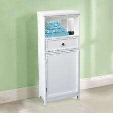 1 Shelf 1 Drawer 1 Door Floor Standing Cabinet White Wooden Bathroom Organiser