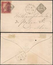 IRELAND 1862 PENNY RED LCp14..SUPERB EXTRA STRIKE of 186 DUPLEX on MINIATURE ENV