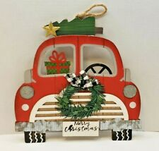 """New Red Truck Merry Christmas Sign Christmas Wall Decor Plaque 11.5"""" Long"""