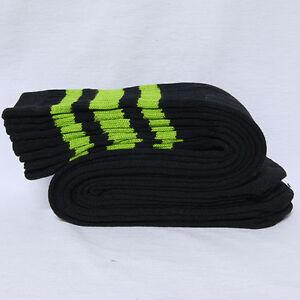 "One Pair Cotton 3 Stripe Below Knee Tube Socks Old School 24"" Soccer Sports Soft"