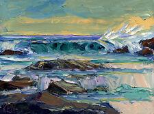 "DUSK BREAKER Seascape Expression Oil Painting Palette Knives 12x16"" 050616 KEN"