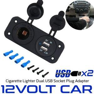 12V Car Cigarette Lighter Socket Dual USB Port Charger Voltmeter Panel Boat NEW