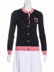 CHANEL Paris Edinburgh Cashmere Pink Blue Cardigan 38