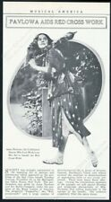 1914 Anna Pavlova photo ballet Red Cross benefit vintage trade print article