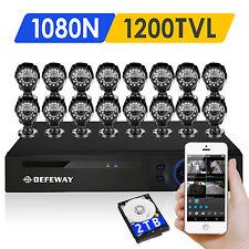 DEFEWAY 16 CH 1080N HDMI DVR 1500TVL Surevillance Security Camera System 2TB HDD