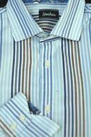 Neiman Marcus Men's Blue White Brown Stripe Cotton Casual Shirt L Large