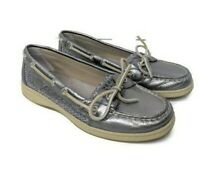 Sperry Top-Sider Womens Size 7.5 Angelfish Silver Metallic Shoes Loafers Flats