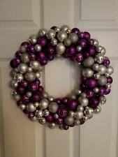 "Z GALLERIE PURPLE & SILVER Glitter Christmas Ornament Bulb Ball 16"" Wreath USED"