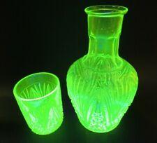 Antique Val Saint Lambert Vaseline Glass WIne  Carafe Decanter w/1 Glasses
