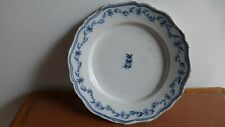 Ancienne assiette faience Nord France ou dutch Delft.. Antique earthenware plate