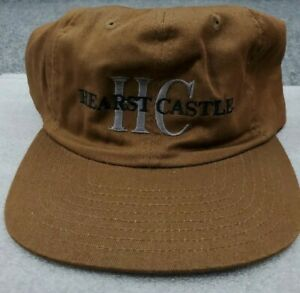 Vintage Hearst Castle Hat HC Company Logo Snap Back Cap Trucker Brown 80s 90s