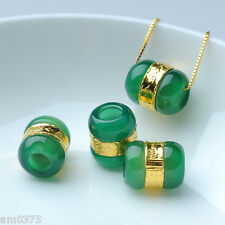 1pcs New Fashion Pure 24K Yellow Gold&Unique Green Chalcedony Lucky Bead Pendant