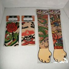 Tattoo Sleeves Colorful Stretchable Material lot of 4 Floral Skull Serpent