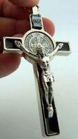 St Saint Benedict Crucifix Cross Enameld Silver Medal Pendant W Prayer