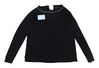 Couchel Womens Size XL Textured Cotton Blend Black Embellished Jumper (Regular)