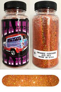 Blakes Metal Flake .015 Orange Sunshine Hot Rod custom automotive 2oz jar