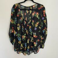 Torrid Floral Pleated 3/4 Sleeves Blouse Flowy Relaxed Fit Lightweight Sz 2X