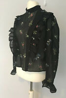 H&M Black Floral Top Blouse Ruffle Sheer Long Sleeve High Neck UK 16 (14) NEW