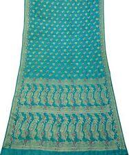 Traditionell 100% Seide Saree Blau Gewebte Vintage Sari DIY Vorhang Stoff