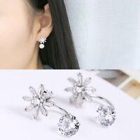 Damen Ear Jackets Blume echt Sterling Silber 925 Zirkonia Ohrstecker Ohrringe