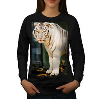 Wellcoda Wild White Tiger Animal Womens Sweatshirt, Rare Casual Pullover Jumper