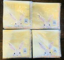 Pottery Barn Kids Easter Springtime Bunny Napkins Set 4 Yellow Rabbit Tabletop