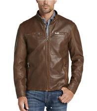 Pronto Uomo Men's L/S Modern Fit Camel Brown Faux Leather Moto Jacket Medium NWT