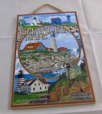 """GUARDIANS OF MAINE LIGHTHOUSES WOODEN SIGN 7""""X10.5"""" MADE IN THE U.S.A."""
